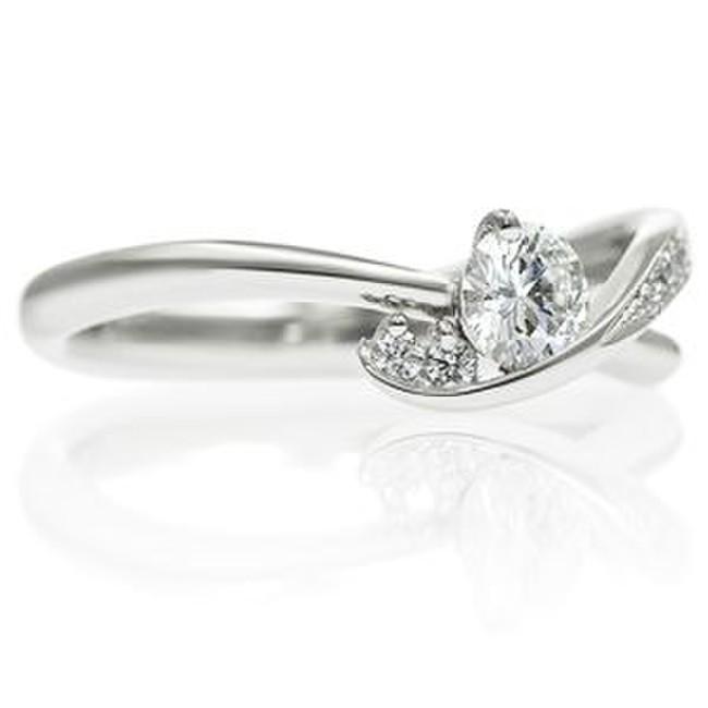 PT900 ウェーブライン ダイヤモンドリング for 0.2ct