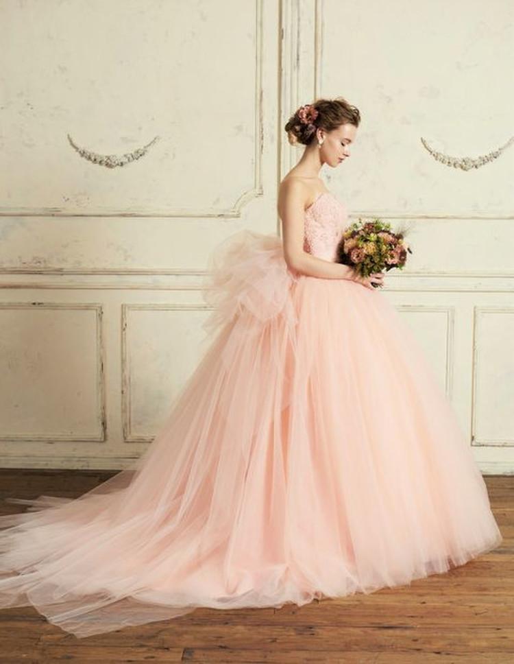 【Cinderella & Co.】スモーキーピンクのカラードレスSS5982SP 1枚目