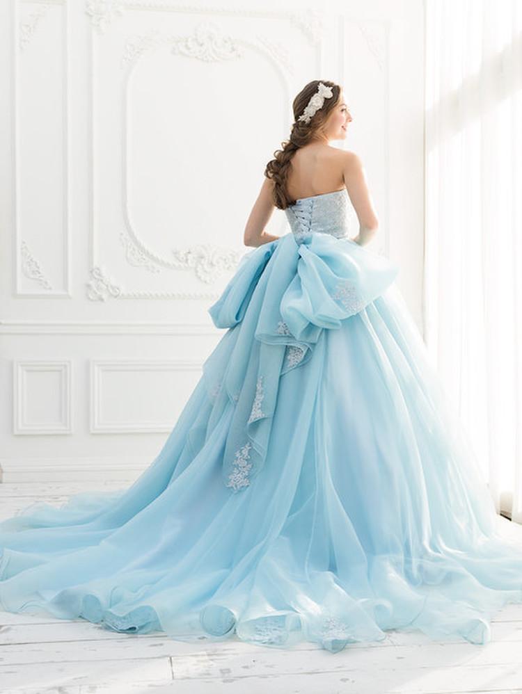 【Cinderella & Co.】ブルーのカラードレスSS2644BL 2枚目