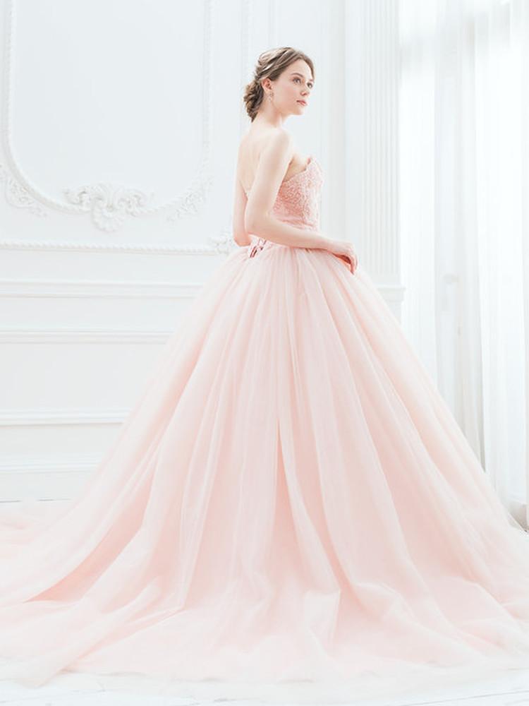 【Cinderella & Co.】スモーキーピンクのカラードレスSS5982SP 3枚目