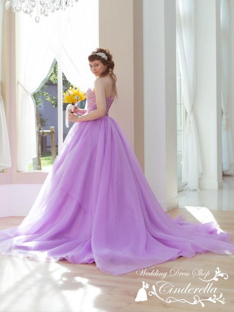 【Cinderella & Co.】パープルのカラードレスSS9590LI 3枚目