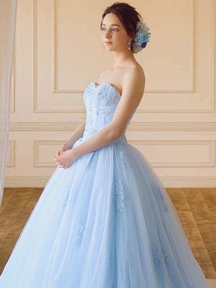 【Cinderella & Co.】ライトブルーのチュール カラードレスSS7815LB 2枚目