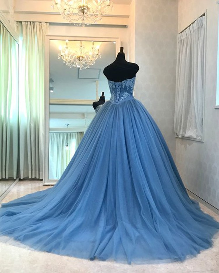 【Cinderella & Co.】ブルーグレイのカラードレスSS5982BG 2枚目