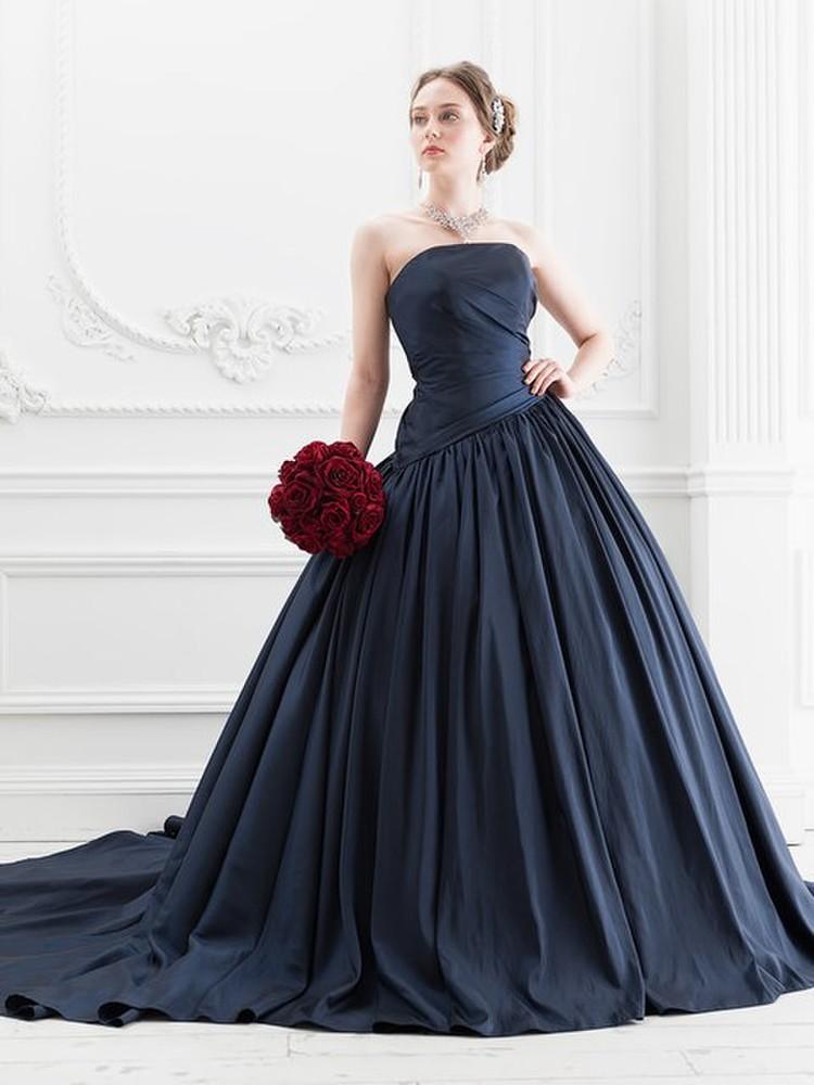 【Cinderella & Co.】ネイビーのカラードレスSS5520NV 2枚目