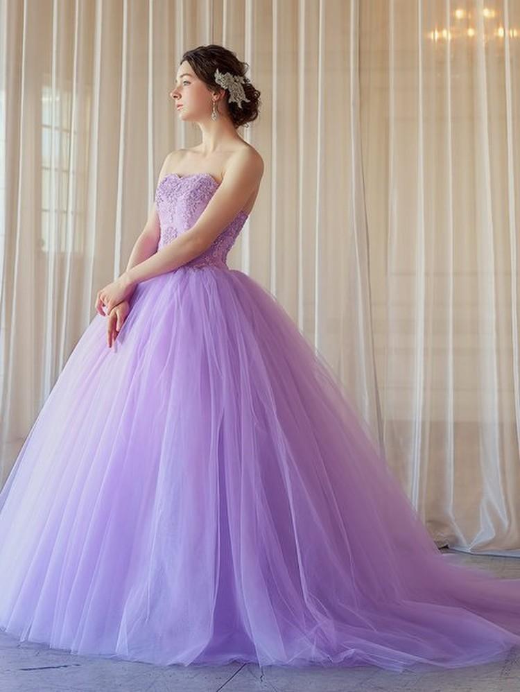 【Cinderella & Co.】大人のライラックパープルのバレリーナカラードレス SS5982LI 1枚目