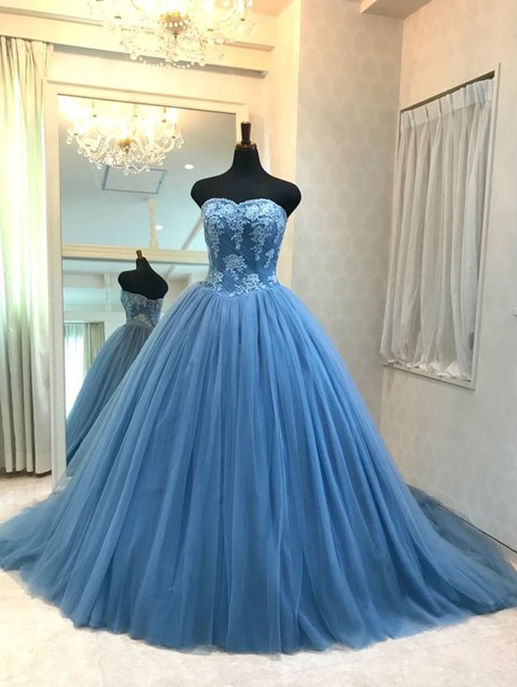 【Cinderella & Co.】ブルーグレイのカラードレスSS5982BG 1枚目