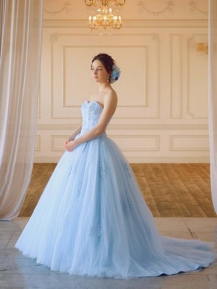 【Cinderella & Co.】ライトブルーのチュール カラードレスSS7815LB 1枚目