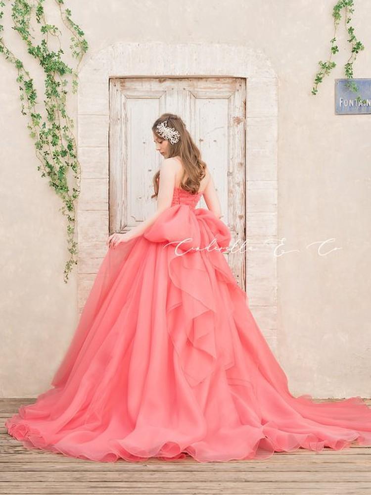 【Cinderella & Co.】キャンディーピンクのカラードレスSS4592CP 1枚目