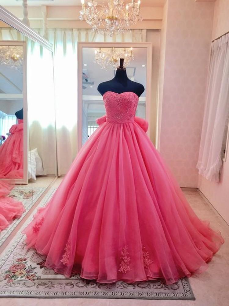 【Cinderella & Co.】キャンディーピンクのカラードレスSS4592CP 2枚目