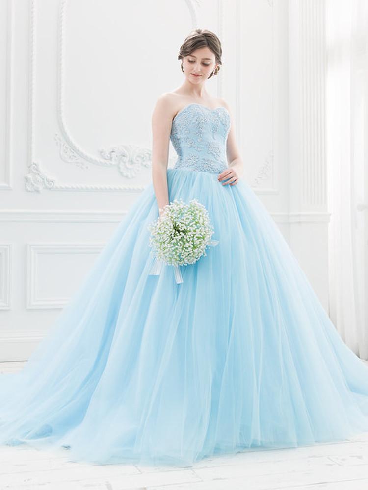 【Cinderella & Co.】スカイブルーのカラードレスSS5982BL 1枚目
