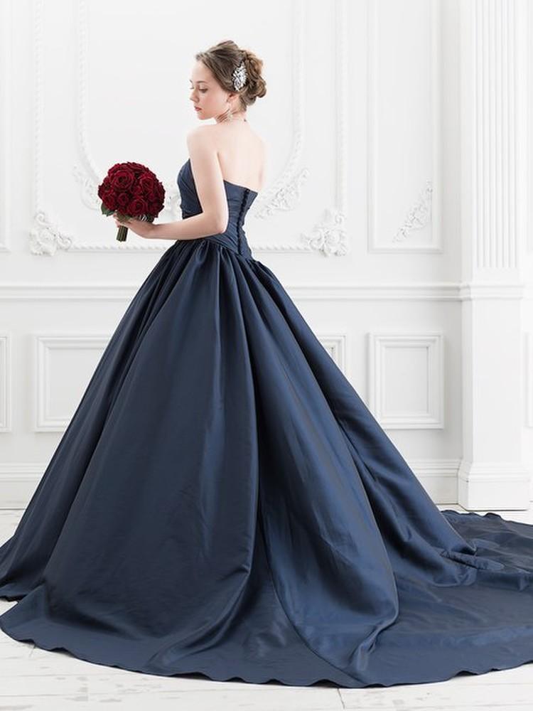 【Cinderella & Co.】ネイビーのカラードレスSS5520NV 1枚目