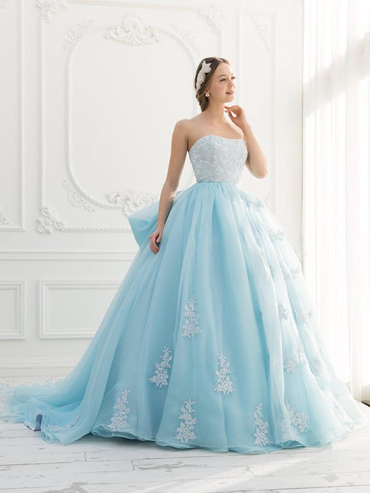 【Cinderella & Co.】ブルーのカラードレスSS2644BL 1枚目