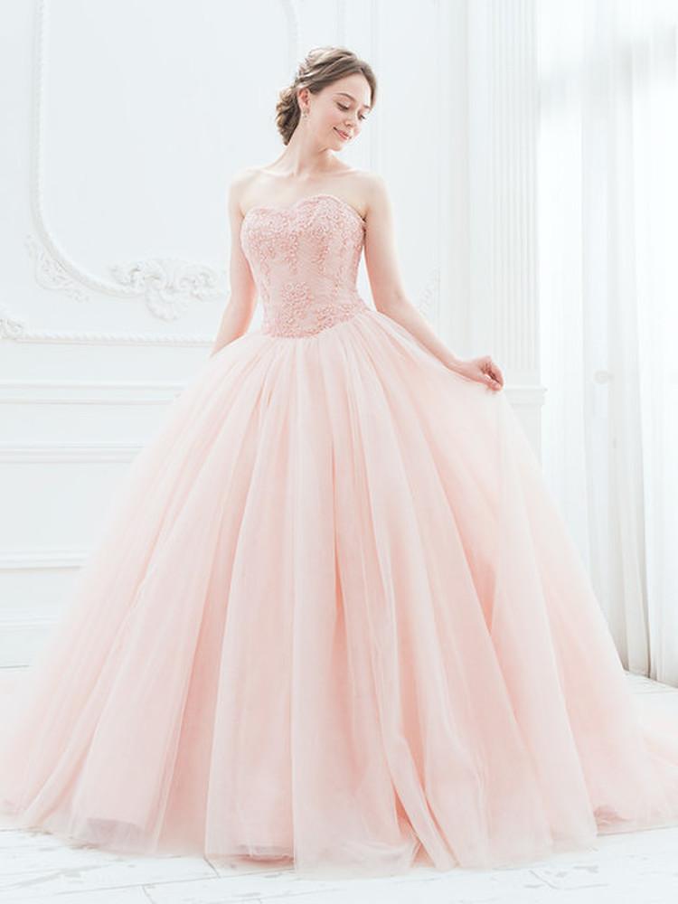【Cinderella & Co.】スモーキーピンクのカラードレスSS5982SP 2枚目