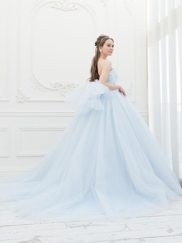【Cinderella & Co.】ライトブルーのカラードレスSS5591LB 2枚目