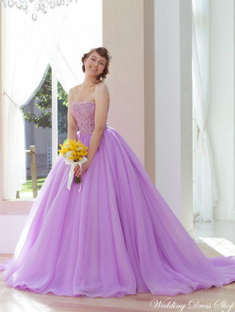 【Cinderella & Co.】パープルのカラードレスSS9590LI 1枚目