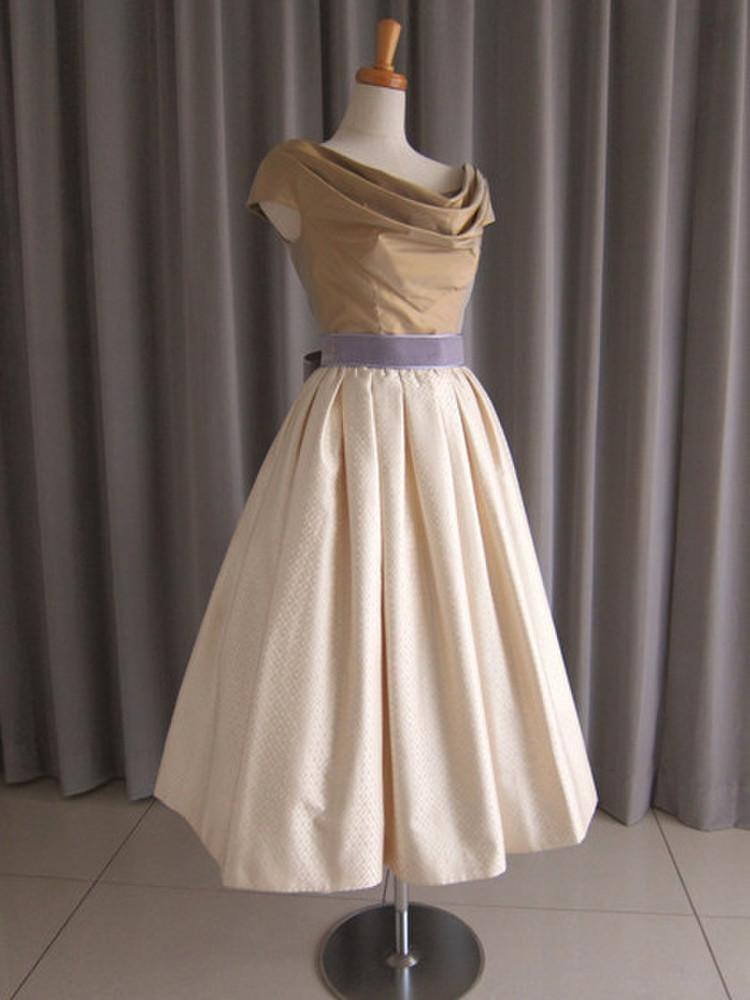 olive silk taffeta top&silk jacquard mide dress 1枚目
