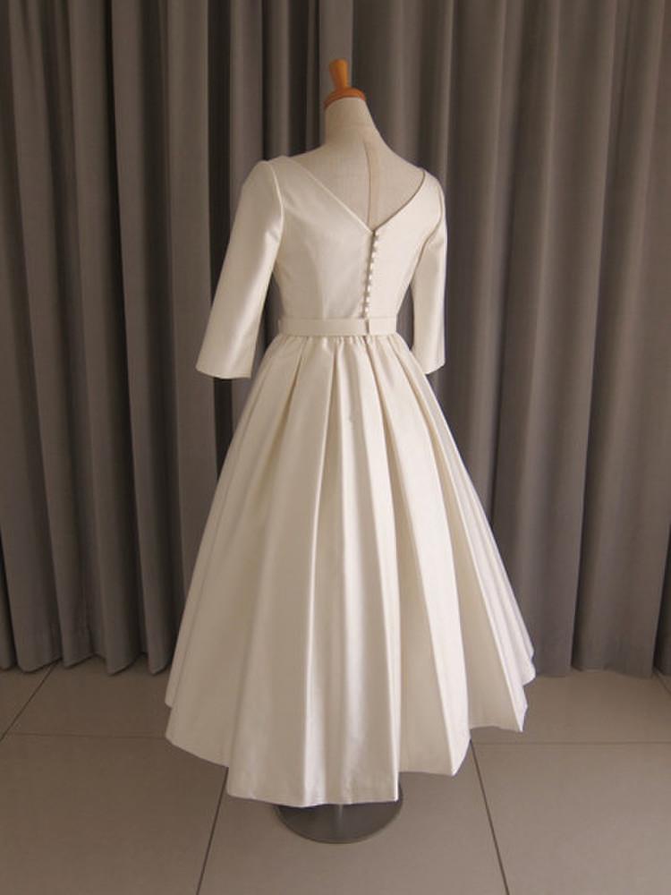 Silk shantung midi dress 2枚目