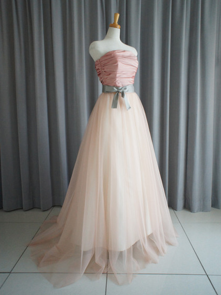 Rose pink shantung bustier & princess line skirt with tulle lace 1枚目