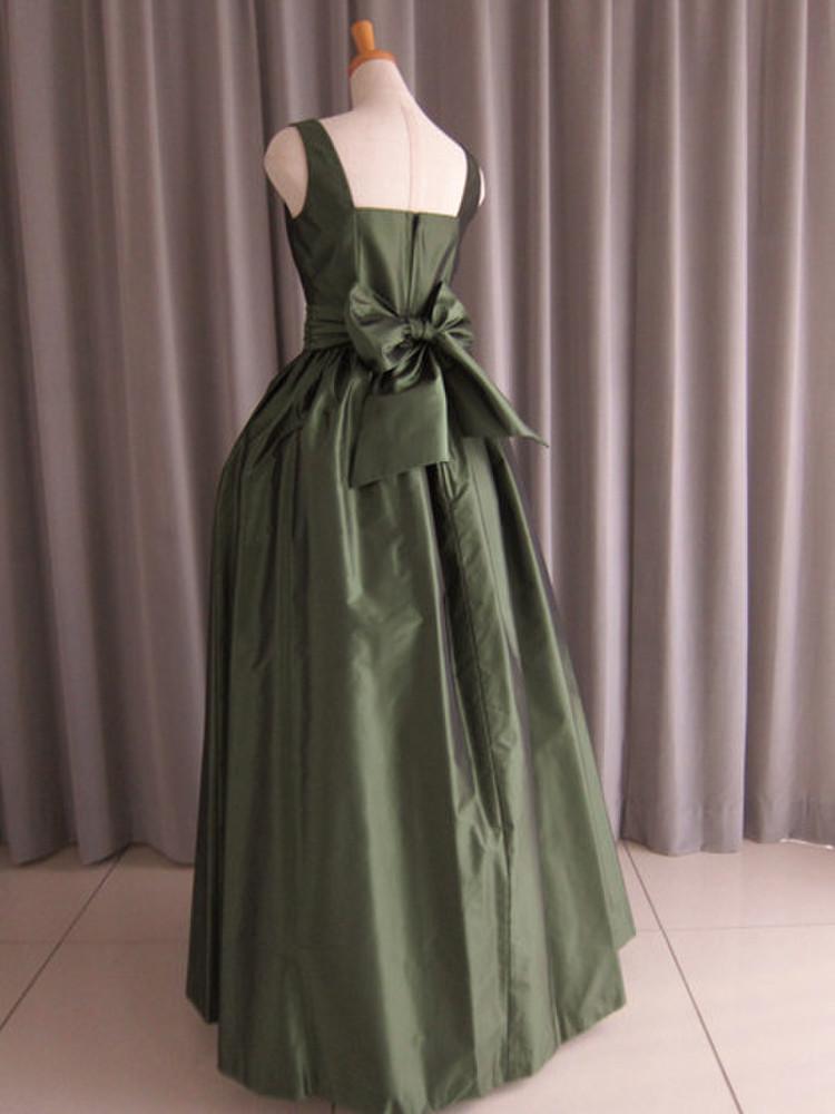 Dark green silk taffeta bell line dress 2枚目