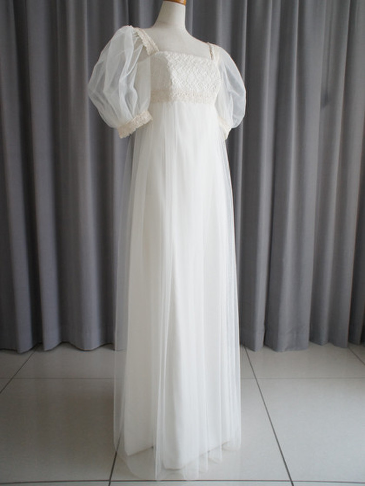 Italian georgette,tulle & cotton lace empire dress 1枚目