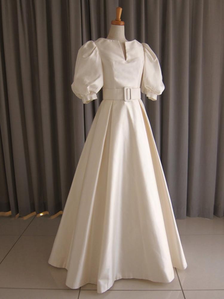 Silk taffeta puff sleeve A-line dress 1枚目