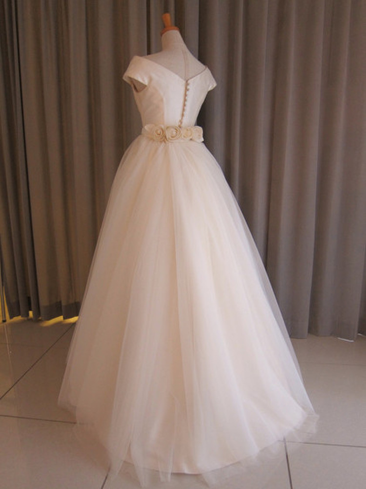 Silk taffeta&tulle lace princess line dress 2枚目