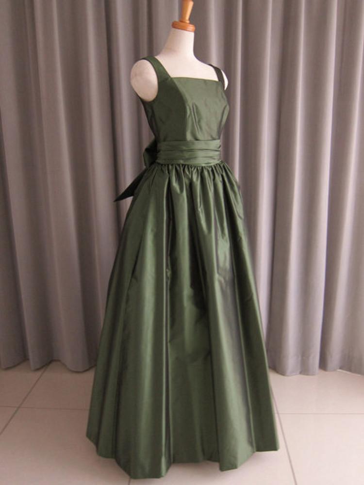 Dark green silk taffeta bell line dress 1枚目