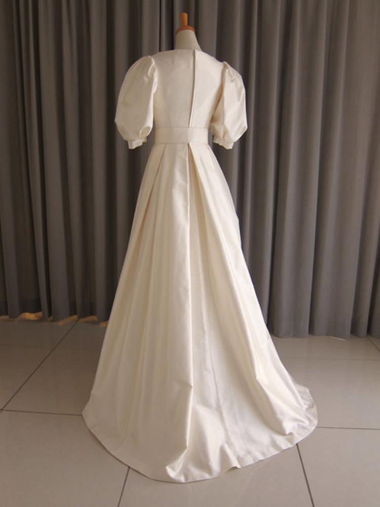Silk taffeta puff sleeve A-line dress 2枚目