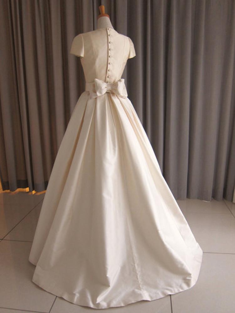 Silk taffeta cap sleeve princess line dress 2枚目