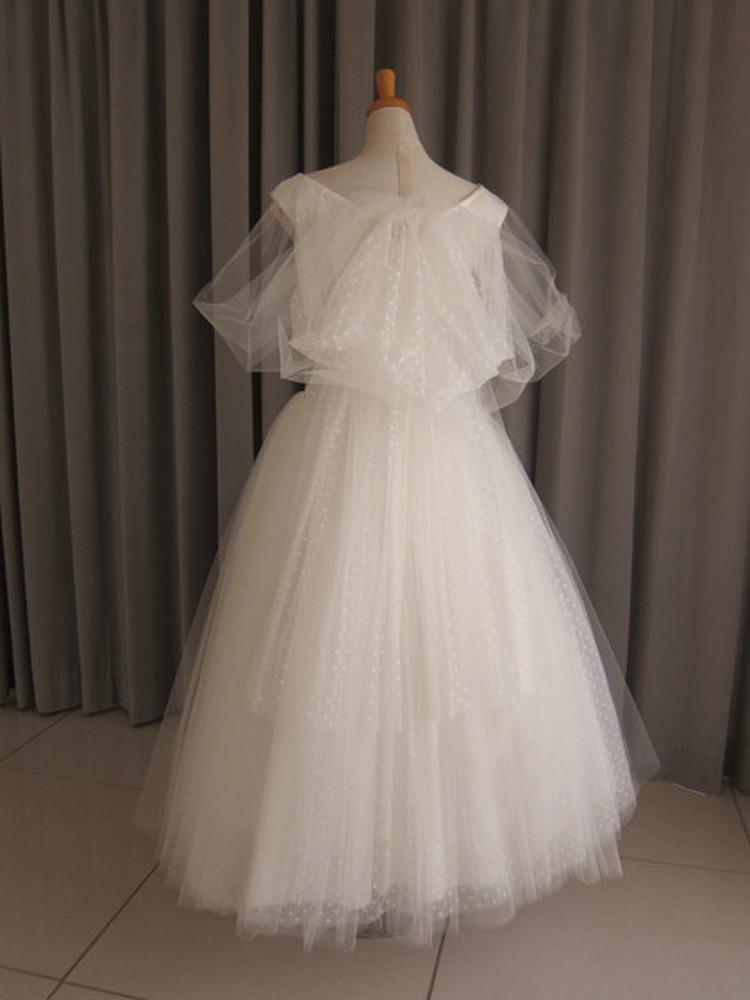 Cotton satin & tulle lace midi dress 2枚目