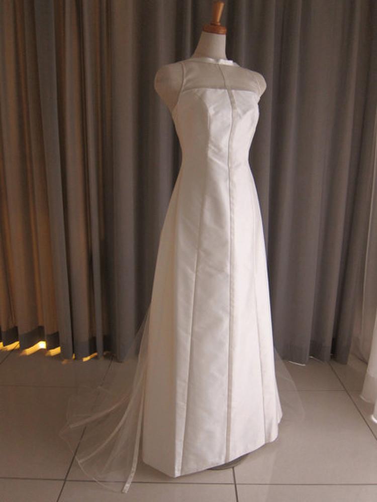 Silk taffeta&tulle lace slim line dress 1枚目