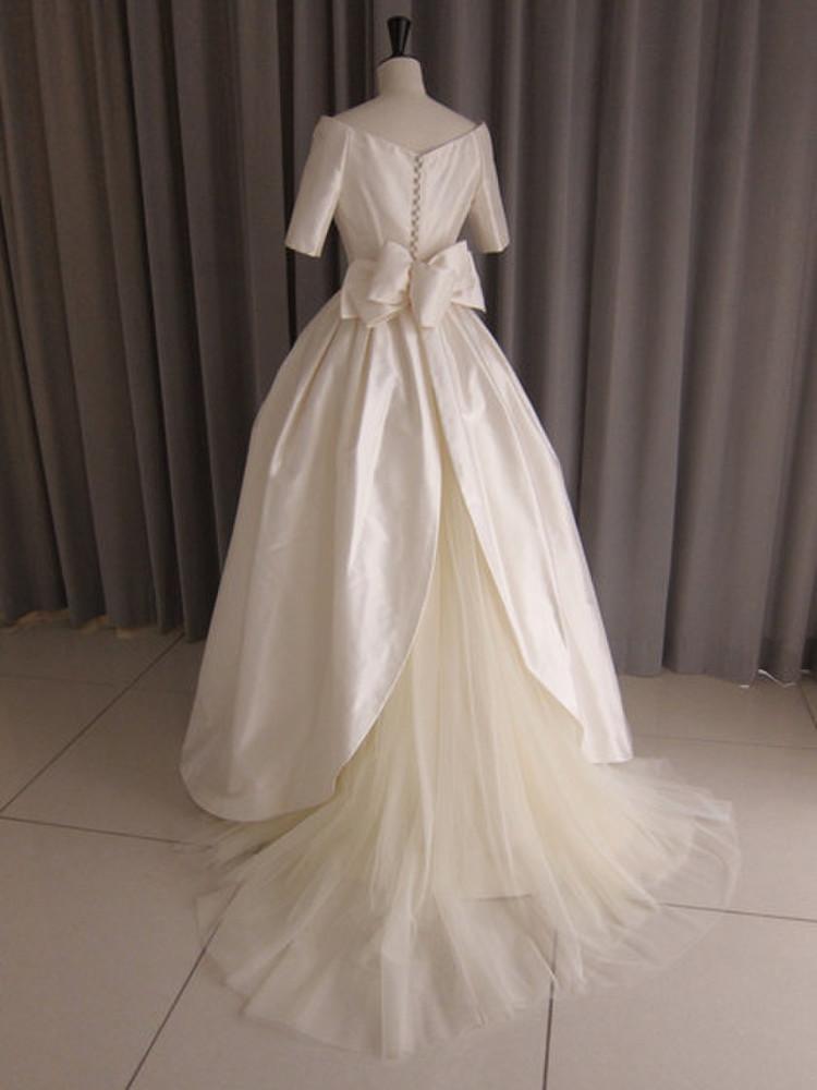 Silk taffeta off shoulder princess line dress 2枚目