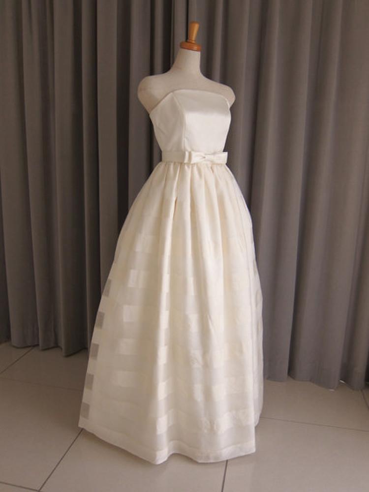 Italian satin & silk organza dress 1枚目