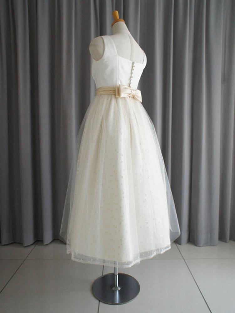 Italian satin & dotted lace midi dress 2枚目