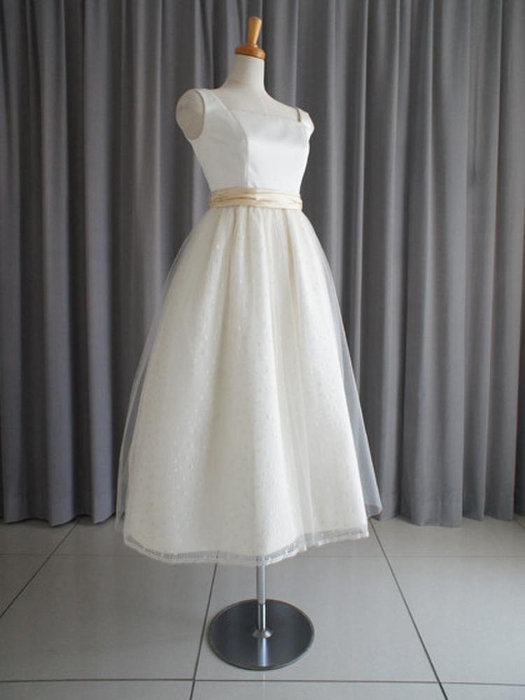 Italian satin & dotted lace midi dress 1枚目
