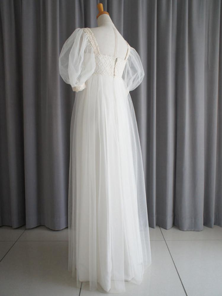 Italian georgette,tulle & cotton lace empire dress 2枚目