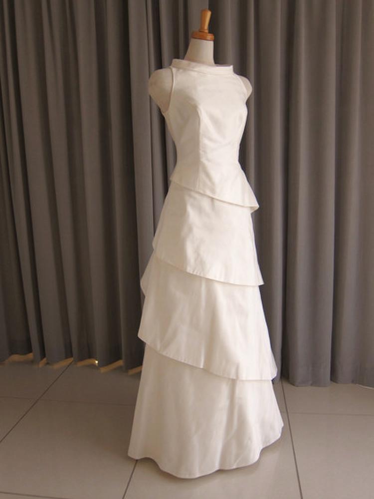 Silk taffeta tiered dress 1枚目
