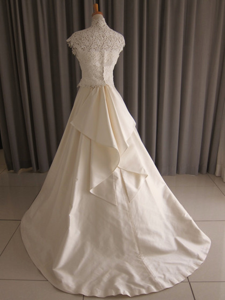 Silk taffetaA&lace bolero A-line dress 2枚目