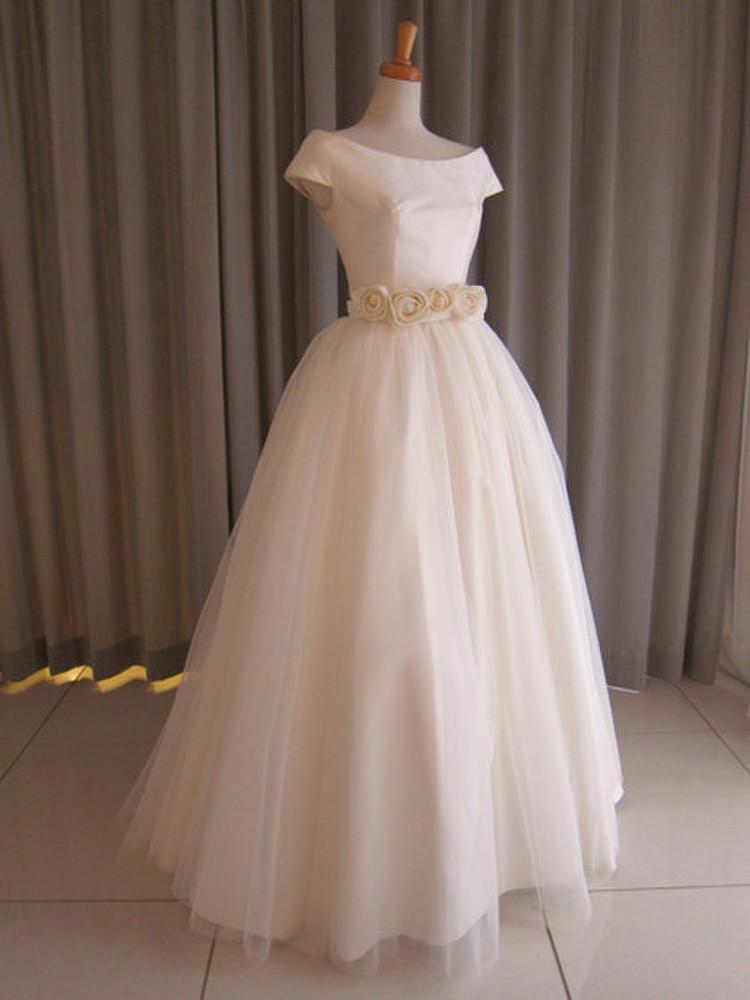 Silk taffeta&tulle lace princess line dress 1枚目