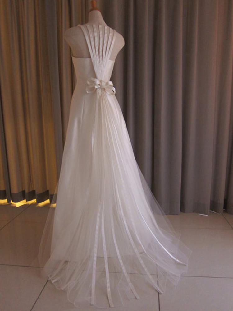 Silk taffeta&tulle lace slim line dress 2枚目