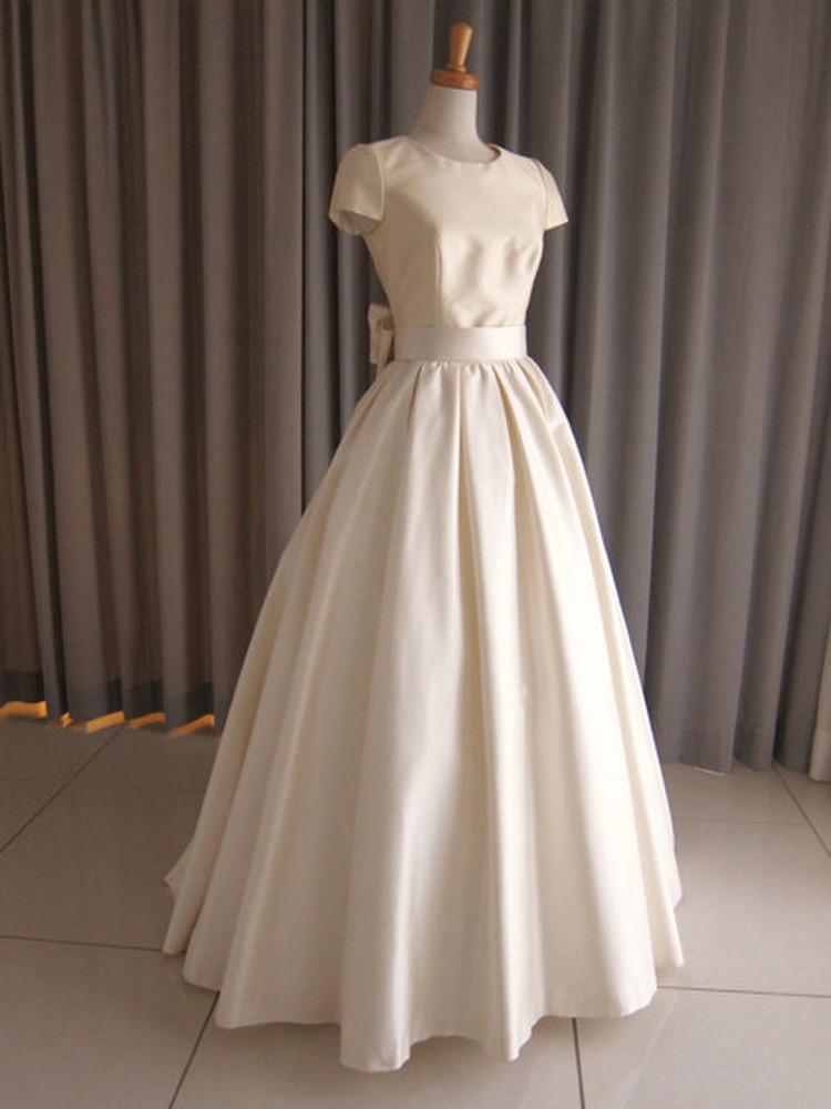 Silk taffeta cap sleeve princess line dress 1枚目