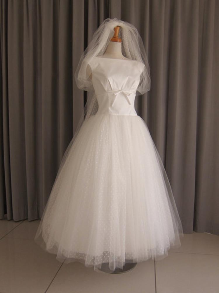 Cotton satin & tulle lace midi dress 1枚目