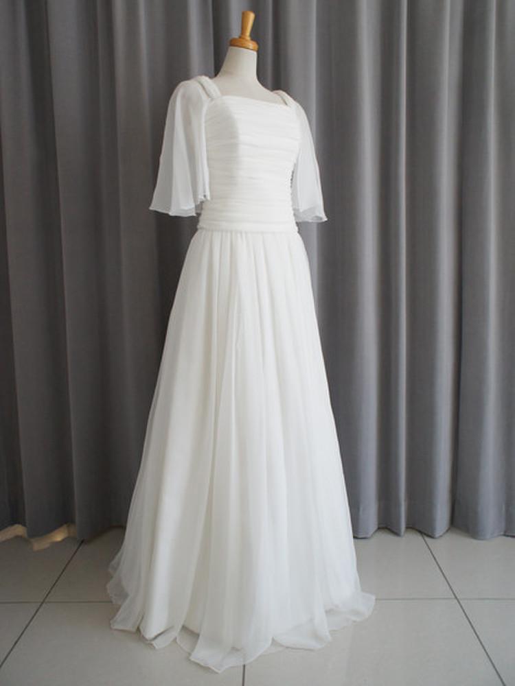 Silk chiffon georgette slender dress 1枚目