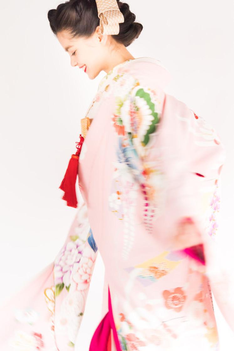 桃色刺繍花車 1枚目