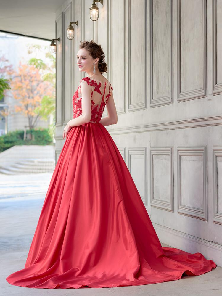 【Cinderella & Co.】2WAYの赤いカラードレスSS0228Red 1枚目