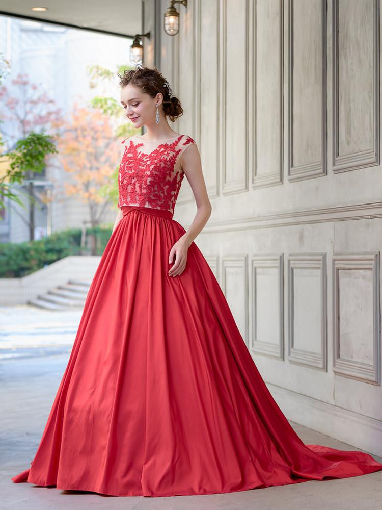 【Cinderella & Co.】2WAYの赤いカラードレスSS0228Red 2枚目