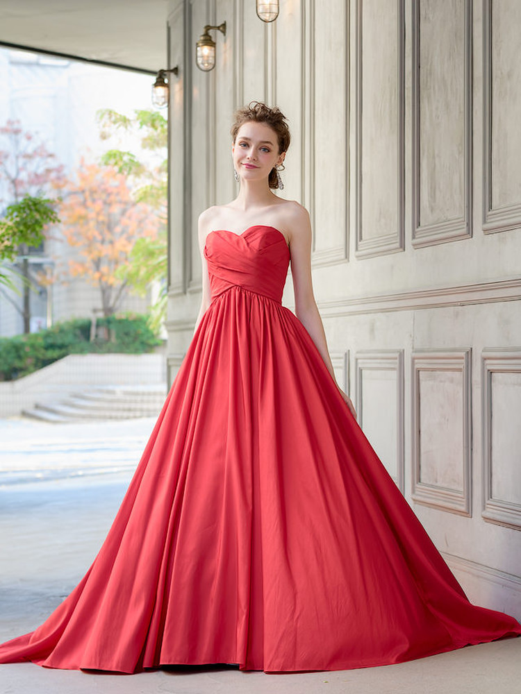 【Cinderella & Co.】2WAYの赤いカラードレスSS0228Red 3枚目