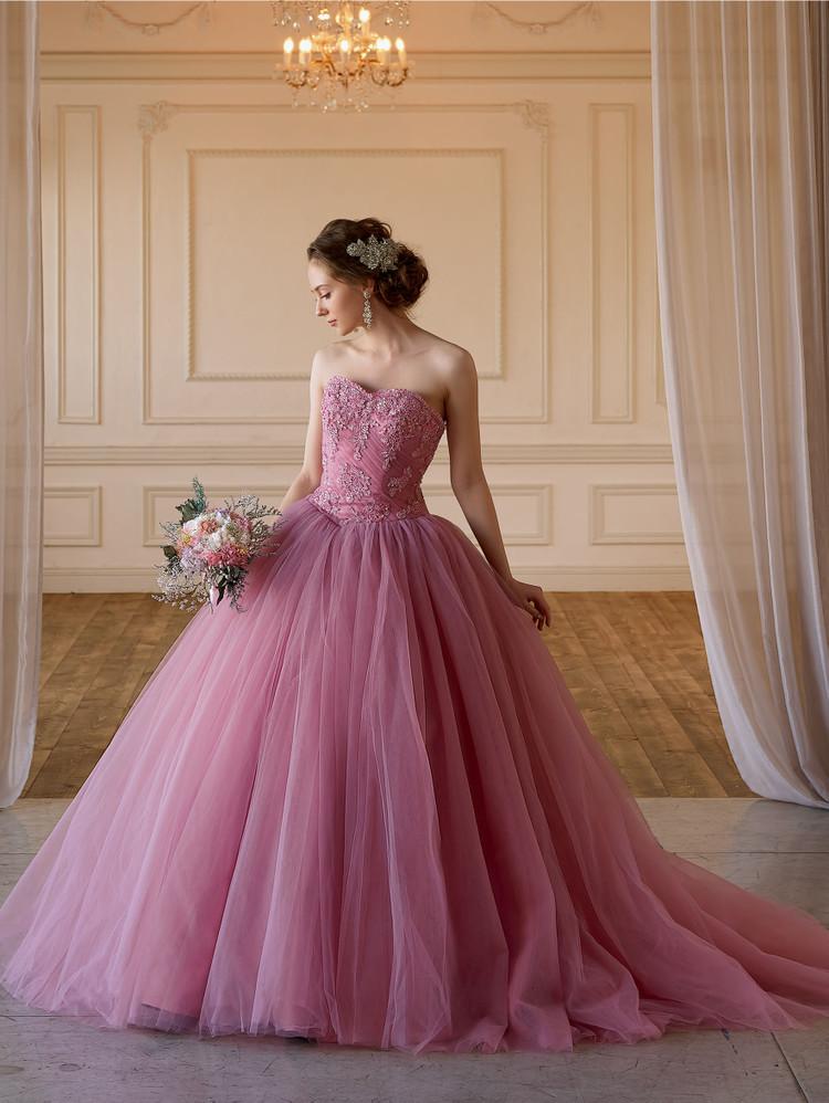 【Cinderella & Co.】グレイッシュピンクのカラードレスSS5982PGR 1枚目