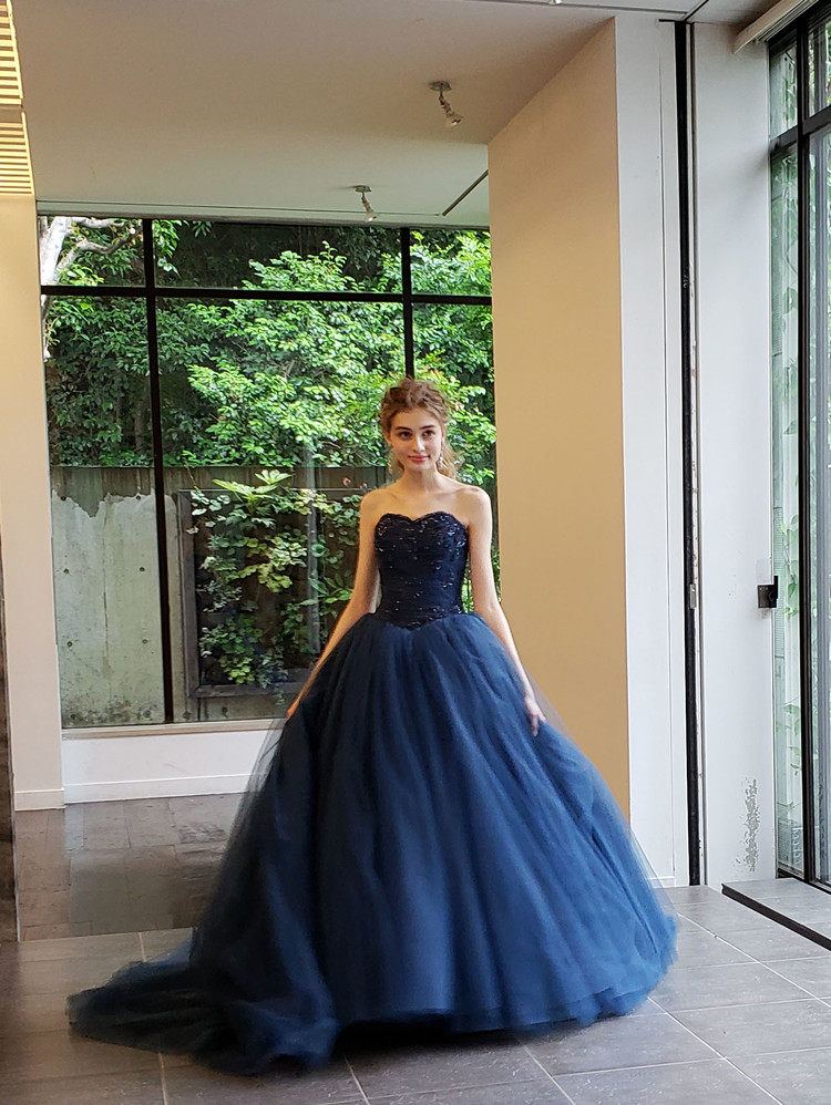 【Cinderella & Co.】ネイビーのバレリーナカラードレスSS5982NV 1枚目