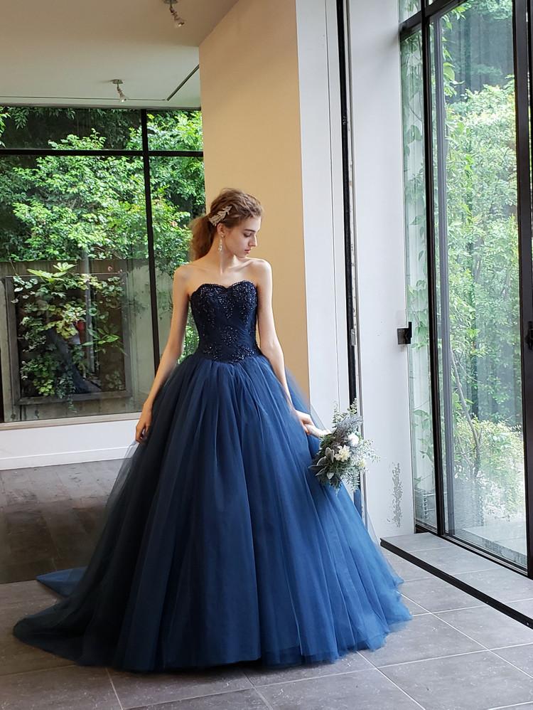 【Cinderella & Co.】ネイビーのバレリーナカラードレスSS5982NV 2枚目